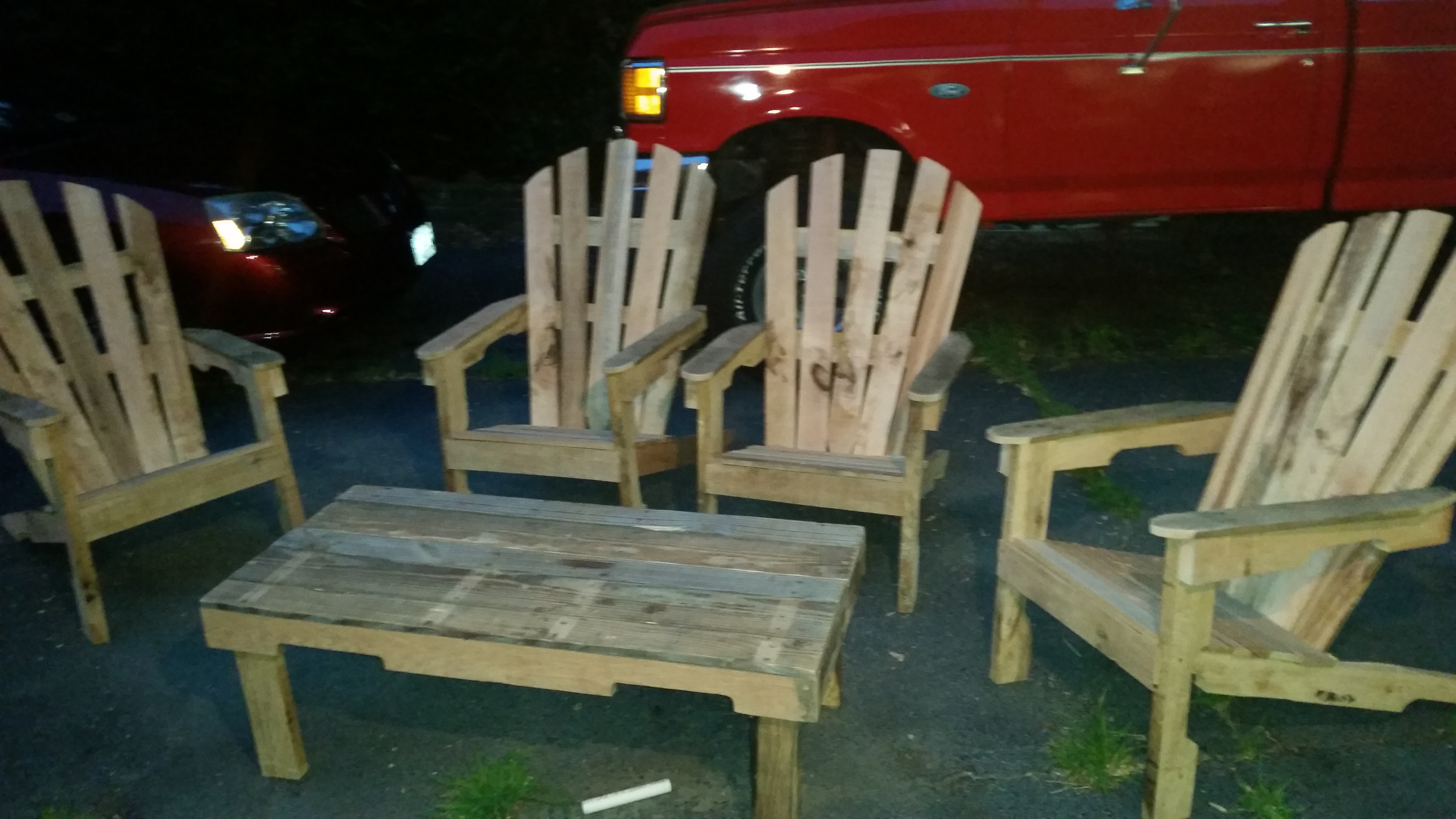 Adirondack chairs and coffee table built by Jake Burch